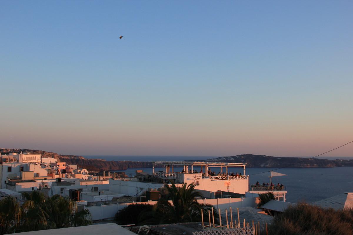 サントリーニ島の夕景