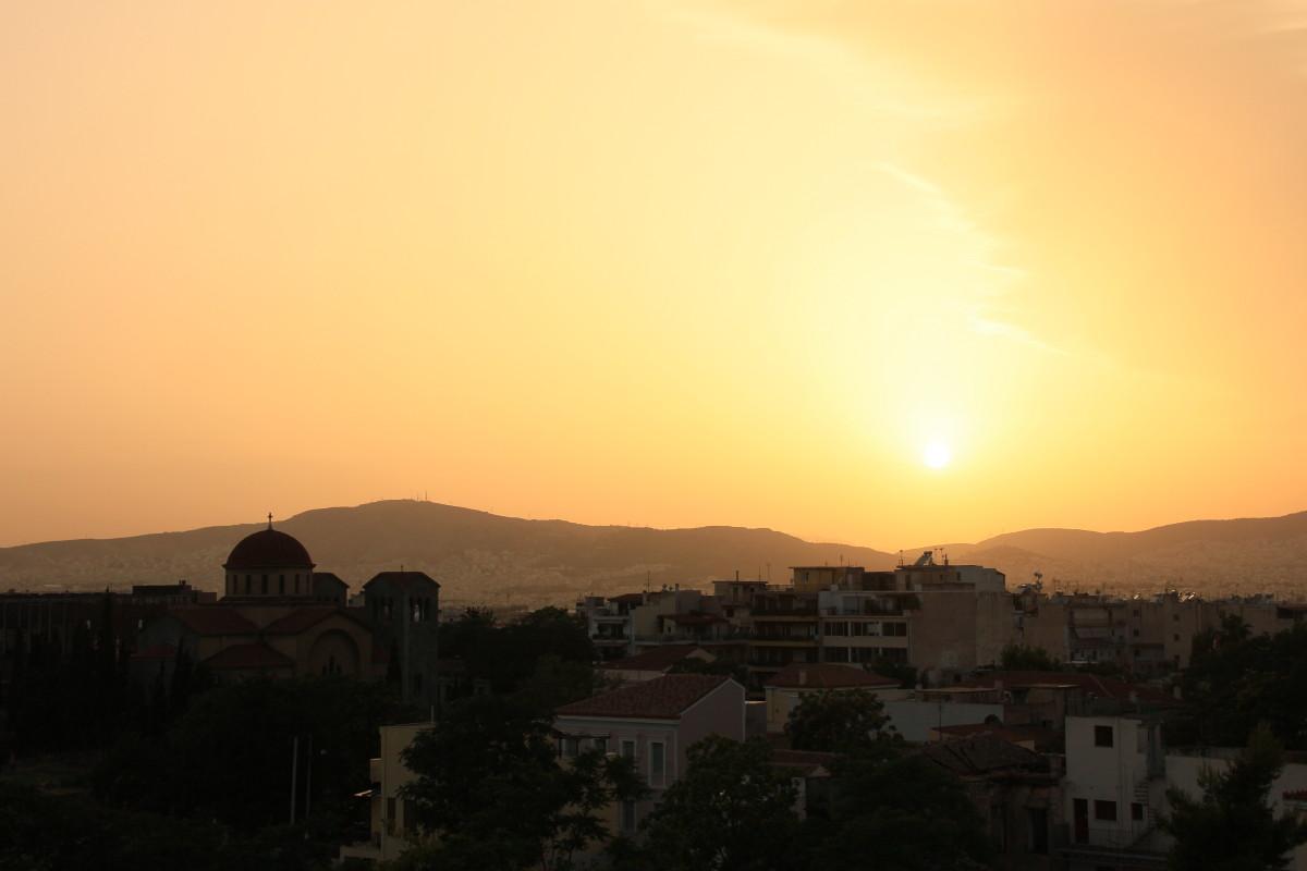 アテネの夕焼け