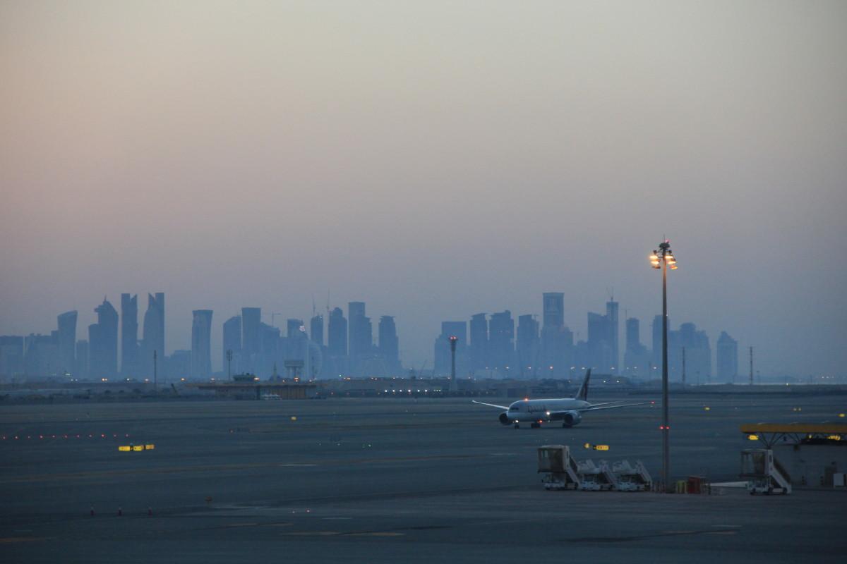 カタール空港からの摩天楼