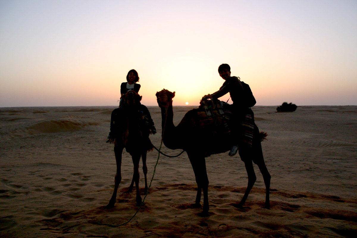 砂漠のラクダツアー